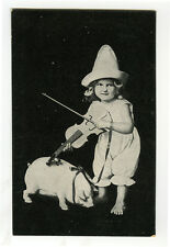 c 1910 Child Children CLOWN GIRL w/ FIDDLE & Pig  violin photo postcard
