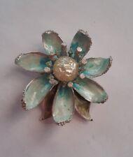 Vintage Large Coro Blue Enamel Flower Brooch!!!!