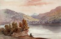 CAROLINE ANN BRERETON Watercolour Painting CONWY FROM TOWYN WALES 1853