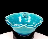 "ASIAN ART POTTERY TURQUOISE CRACKLE GLAZE FROG TILE SCALLOPED RIM 6"" BOWL"