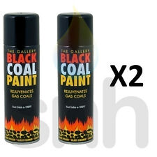 Black Coal Paint 300ml  For Gas Fire Coals 300ml Spray Can Gallery Paint X2
