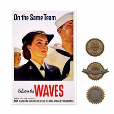 "13""×19"" Historic Poster, Reproduction: ENLIST 1943 WWII WAVES. WOMEN IN THE NAVY"