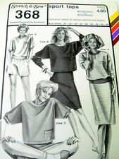 UNCUT Stretch & Sew Sewing Pattern 368 Sport Tops Small to XLarge Ann Person 80s