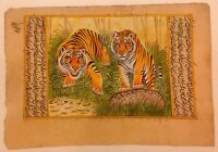 Hand Painted Tiger Pair Rare Intricate Rajasthani Miniature Painting on Paper