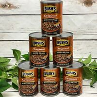 Bushs Best Original Baked Beans 6 - 16.5 oz Cans Bacon Brown Sugar 98% Fat Free