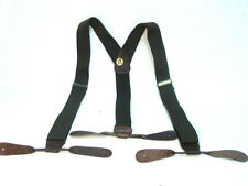 Old West Style Brown Canvas Suspenders Antique brass buckle Button Leather ends