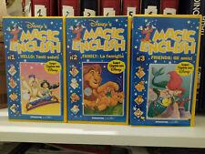 MAGIC ENGLISH - WALT DISNEY - (3 VHS) numeri 1 - 2 - 3 DEAGOSTINI JUNIOR
