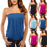 Ladies New Plain Strapless Sleeveless Ruched Boob Tube Women's Bandeau Top Tee