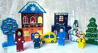 Wooden Toy Building Winter New Year Railway Train Terrain Constructor Kit