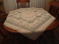 "1900's Tablecloth Colonial Blue Cross-stitch Ecru Linen 1""Crochet Edge 52"" X 52"""