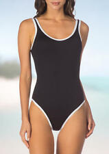 Kenneth Size L Cole On The Edge One Piece Maillot Swimsuit Black & White NWT $96