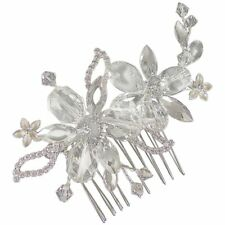 Isabella Crystal Flower Hair Comb 9cm (Silver) (e2066hs)