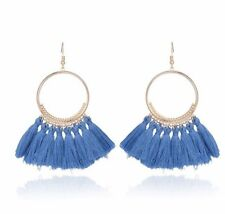 Gold Blue Long Drop Tassel Fashion Earring Boho Festival Party Boutique Uk