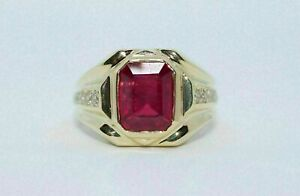 2.00 Ct Emerald Cut Red Ruby Diamond Engagement Ring In 14K Yellow Gold Over