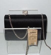 NWT! Bergdorf Goodman Black Silk Evening Bag w/Crystal Cube Converts Italy