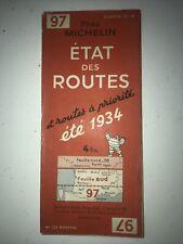 Ancienne Carte Routière Michelin Numéro 97 Etat Des Routes Année 1934