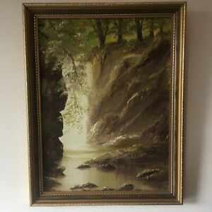 Vintage Welsh Woodland Forest Waterfall Gorge Landscape Oil Painting