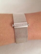 "Tiffany & Co Sterling Silver Diamond Mesh Somerset Bangle Bracelet 6.5"" RRP$3350"