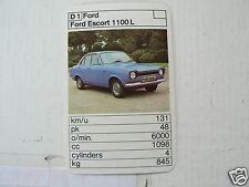 30-ENGLISH CARS D1 FORD ESCORT 1100L KWARTET KAART, QUARTETT CARD,