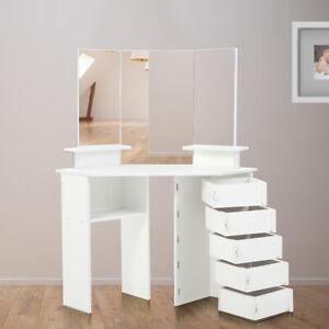 Makika Dressing Table Makeup 5 Drawers Mirror Padded Corner Desk Dresser Bedroom