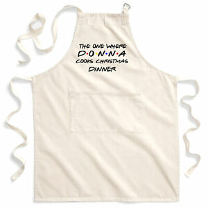 Womens The One where Christmas Dinner Cotton Apron Personalised Gifts For Her