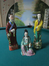MUD MEN/MUDMEN ANTIQUE CHINESE LOT OF 3 FIGURINES CHINESE PAIR AND SITTING FIGUR