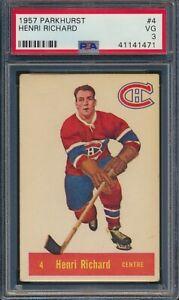 1957 Parkhurst Henri Richard HOF ROOKIE RC #4 M4 Montreal Canadiens PSA 3 VG