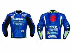 Suzuki Ecstar Men Motorcycle Leather Jacket Motorbike Sport Racing Bikers Armor