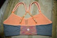 LULULEMON  SPORTS BRA WEE ARE HEATHER GRAY /ORANGE SZ-6/S