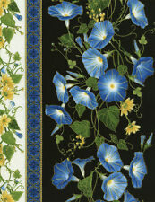 Morning Glory Humming / Blue Bird Cotton Quilt fabric Timeless Treasures Border