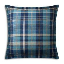 Ralph Lauren Artisan Loft Euro Pillow Sham Jasper Plaid Blue Cotton $145