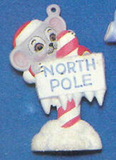 "Mouse on North Pole Sign Ornament 3"" Ceramic Bisque U Paint   FREE SHIPPING"