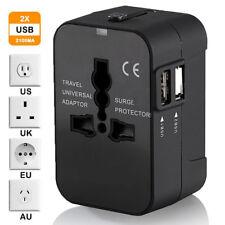 5V AC 2 USB Plug Charger Universal World Travel Adapter Power UK US EU AU Asia