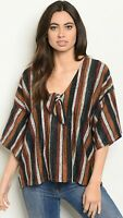 NWT Women's Small Stripe Blouse Top Shirt USA Made Boutique
