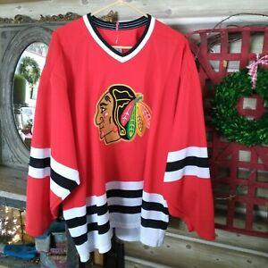 Vintage Chicago Blackhawks Red CCM Ice Hockey Jersey Men's Sz. XL SEWN Excellent