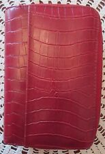 """Faux Croc Double Compartment Zipper 6 Ring Planner Organizer Red 5.5"""" x 7.75"""""""