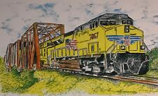 YELLO TRAIN ON BRIDGE - US, Small, Art Reproduction, Artist, Ink, Realism, Train