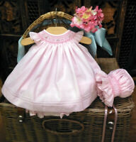 NWT Will'beth Pink Smocked 3pc Bishop Dress 9 Months Bonnet Bloomer Baby Girls