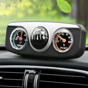 1x 3in1 Car Vehicle Dashboard Hygrometer Thermometer Compass Navigation Ball
