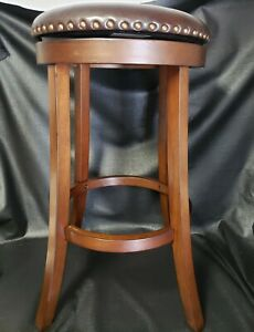 Set of 2 Swivel 30 Inch Bar Height Stools, PU Leather Seat, Dark Brown Leather
