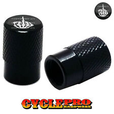 2 Black Billet Knurled Tire Valve Cap Motorcycle - SKULL FINGER FU - 016