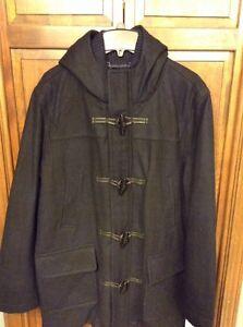 Tommy Hilfiger Blue Green Tartan Hooded Wool Toggle Duffle Coat L $325 NWT New