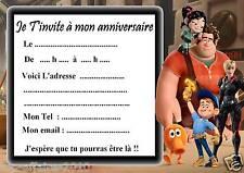 5 cartes invitation anniversaire  les Mondes de Ralph  03  d'autres en vente !!