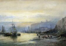 Whitby Harbour at sunset - vintage maritime print