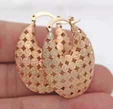 18K Gold Filled Earrings Circle Rhombus Hollow Luxury Dangle Clip-On Wedding BR
