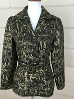 Chicos Womens Metallic Gold Jacket Black Coat Owl Print Belted Cute Chicos 0 = S