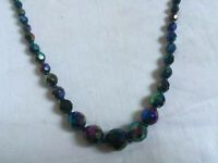 VINTAGE Faceted Blue Rainbow Carnival Glass Graduated Necklace