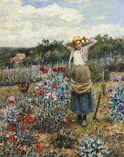 Knight Ridgway Daniel Tending The Garden Canvas 16 x 20    #6958