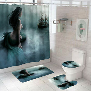 Sea Mermaid Shower Curtain With 12 Hooks Bath Mat Bathroom Toilet Cover Rug Set