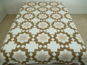 Vintage Cotton Hand Pieced & Quilted BETHLEHEM STAR Brown Pink White Quilt; FULL